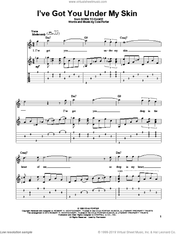 I've Got You Under My Skin sheet music for guitar solo by Cole Porter. Score Image Preview.