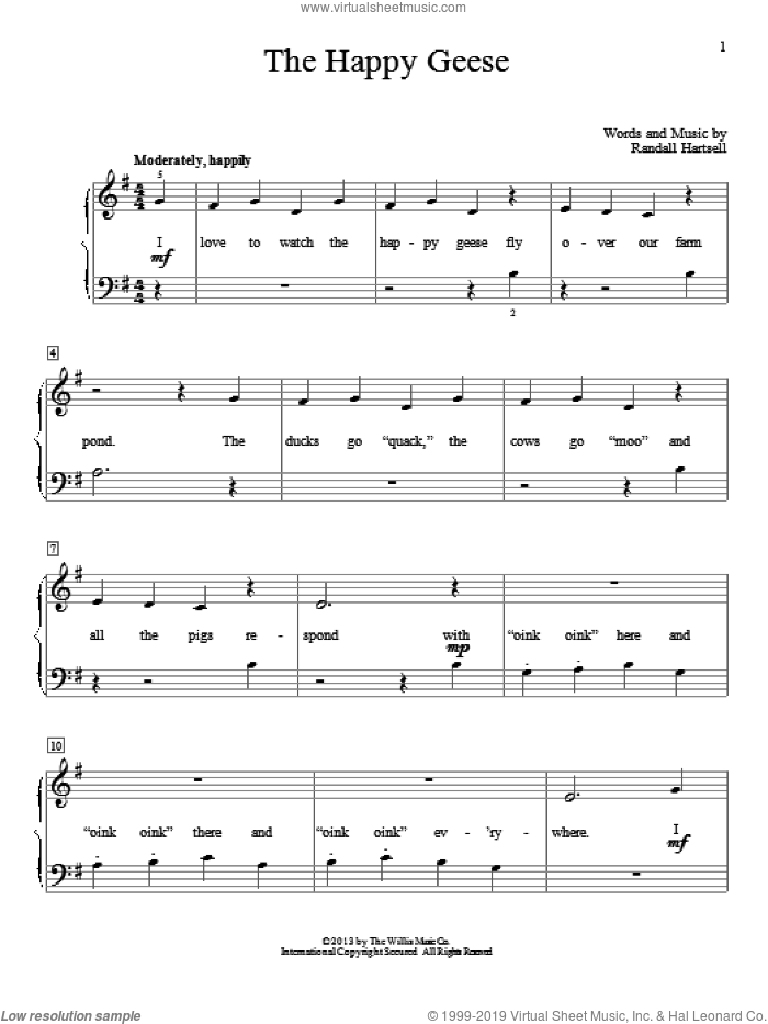 The Happy Geese sheet music for piano solo (elementary) by Randall Hartsell, beginner piano (elementary). Score Image Preview.