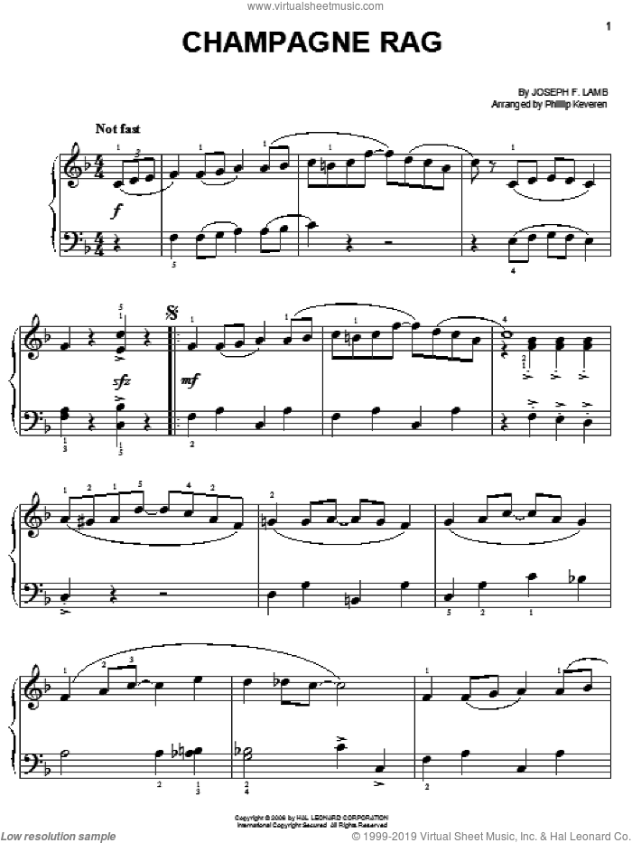 Champagne Rag sheet music for piano solo by Joseph Lamb and Phillip Keveren, easy skill level