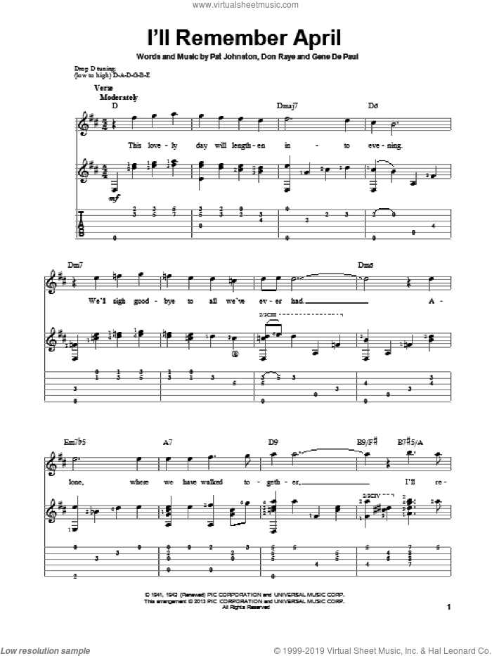 I'll Remember April sheet music for guitar solo by Woody Herman & His Orchestra, Don Raye and Gene DePaul, intermediate guitar. Score Image Preview.