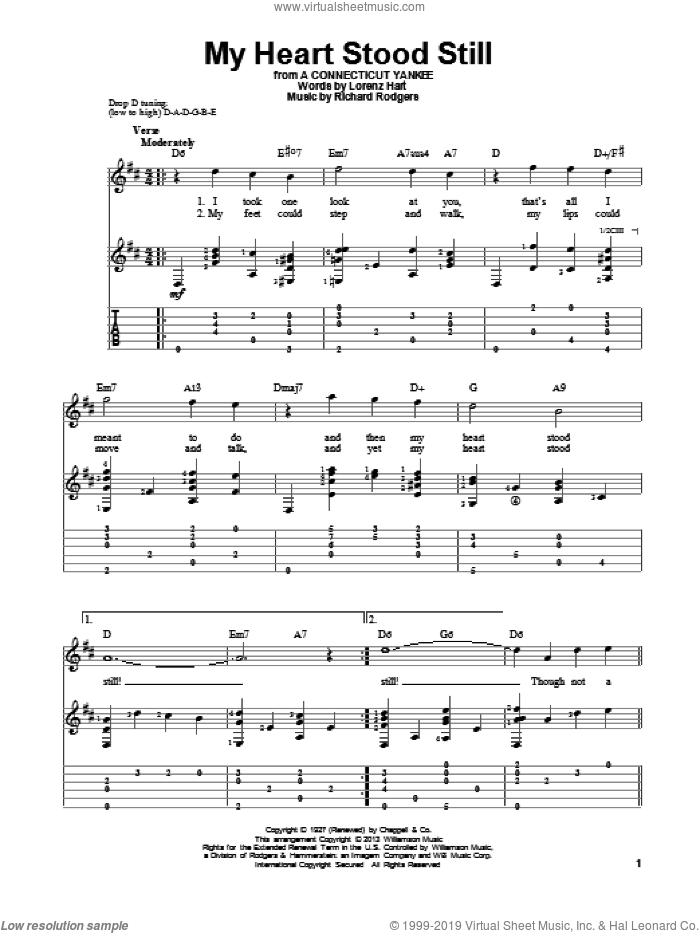 My Heart Stood Still sheet music for guitar solo by Stan Getz, Artie Shaw, Lorenz Hart and Richard Rodgers. Score Image Preview.