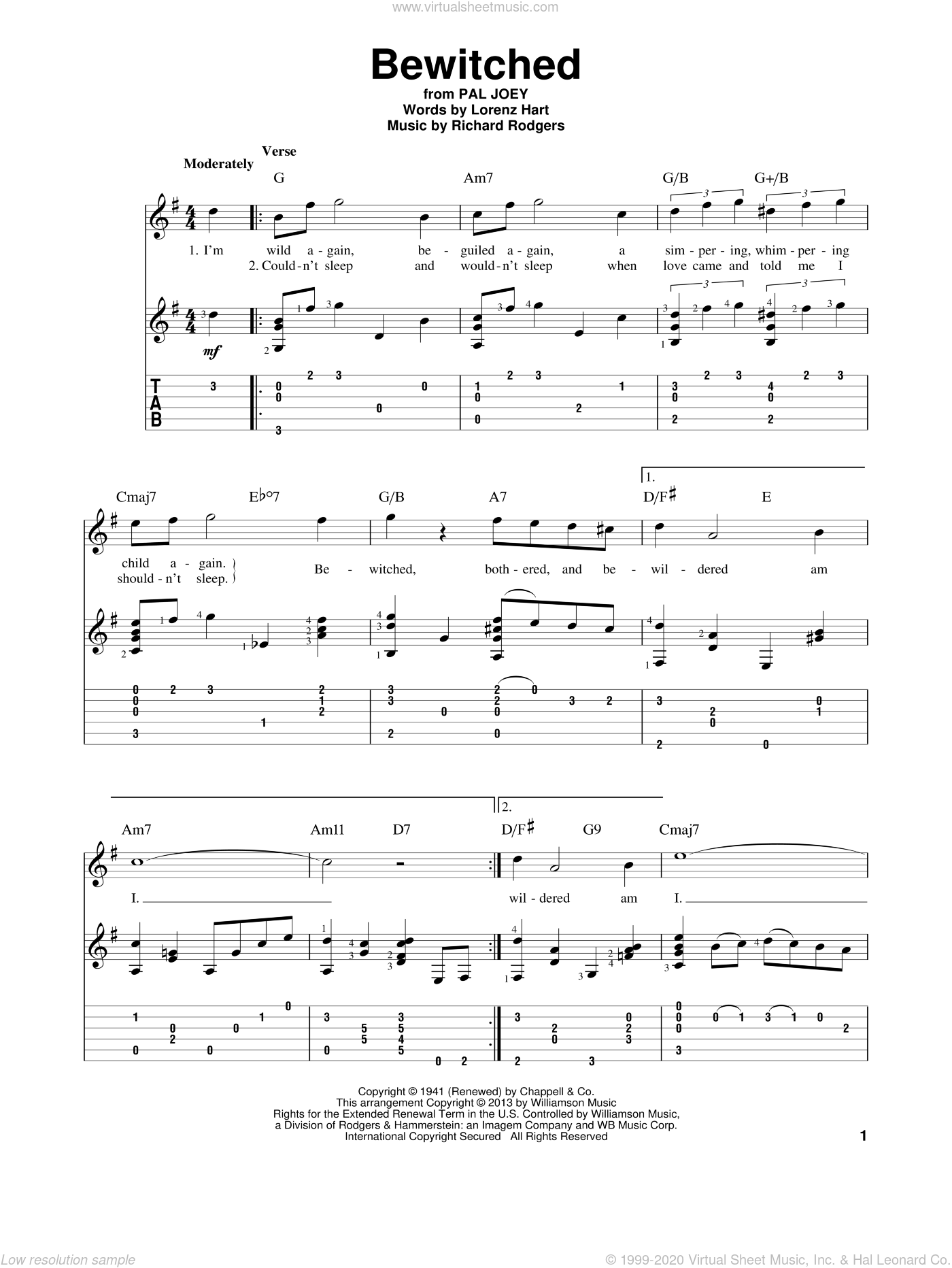 Bewitched sheet music for guitar solo by Rodgers & Hart, Betty Smith Group, Lorenz Hart and Richard Rodgers, intermediate skill level