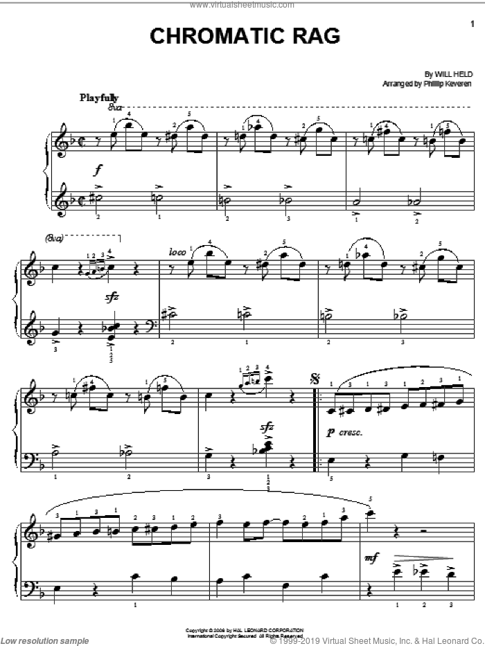 Chromatic Rag sheet music for piano solo by Will Held and Phillip Keveren, easy piano. Score Image Preview.