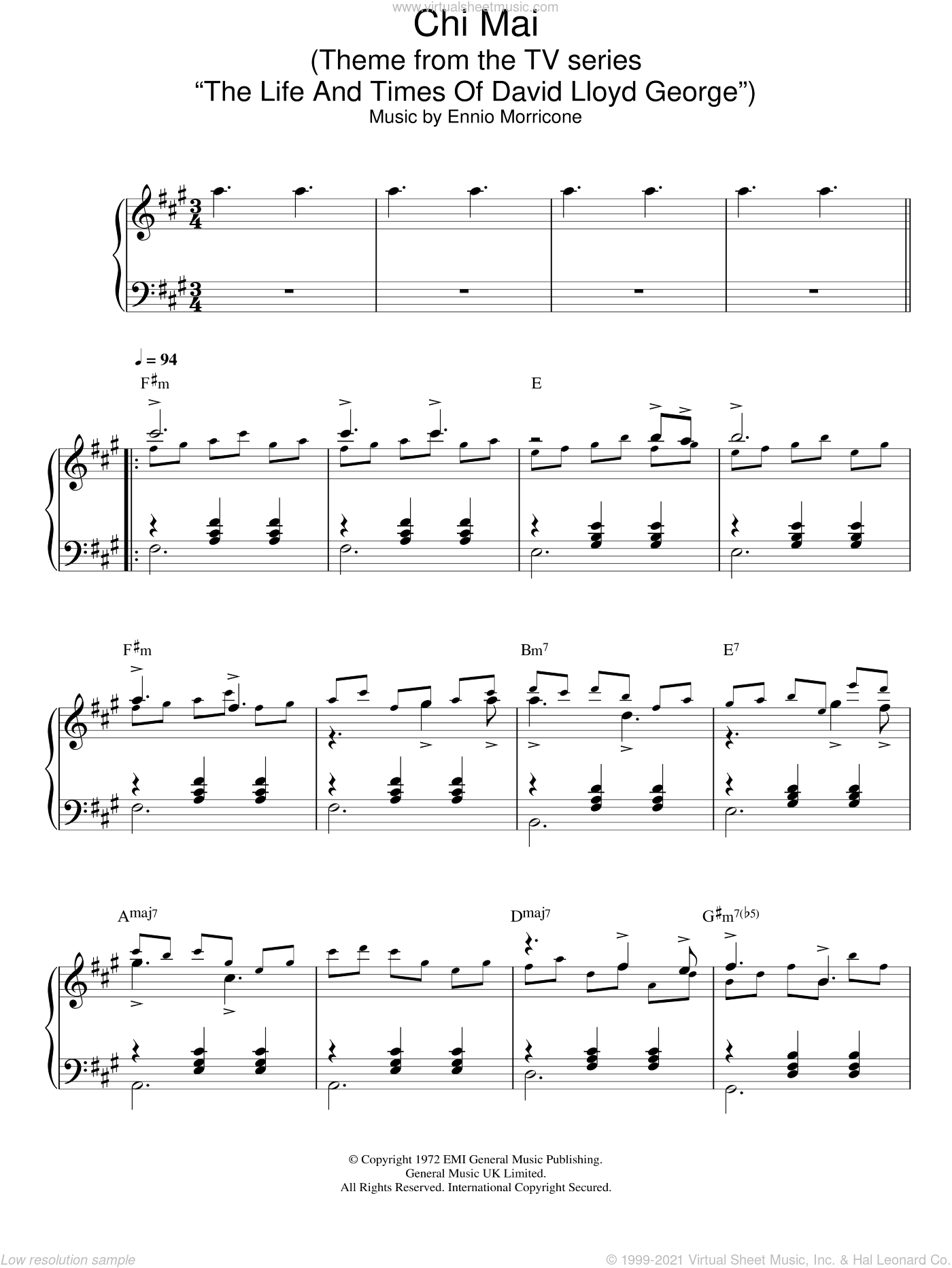 Chi Mai (Theme from The Life And Times Of David Lloyd George) sheet music for piano solo by Ennio Morricone, intermediate skill level
