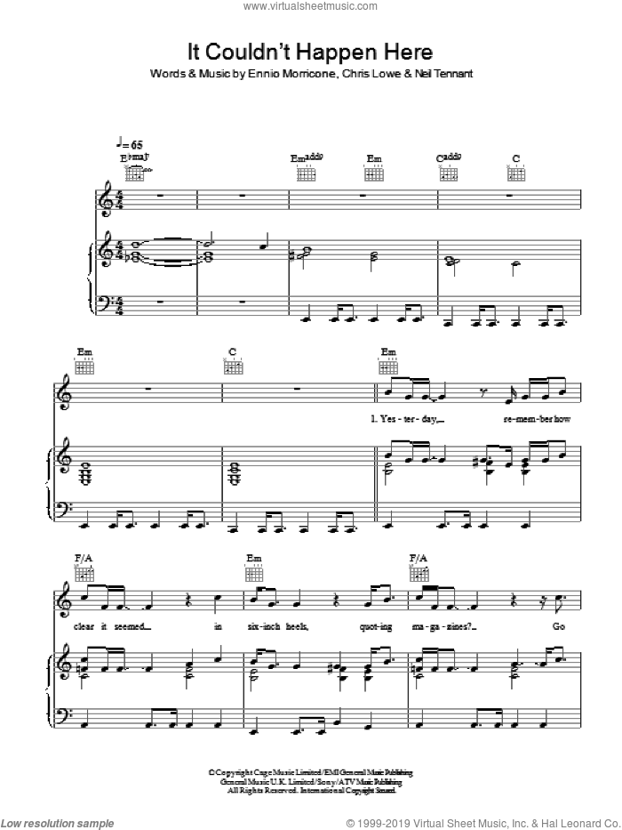 It Couldn't Happen Here sheet music for voice, piano or guitar by Pet Shop Boys. Score Image Preview.