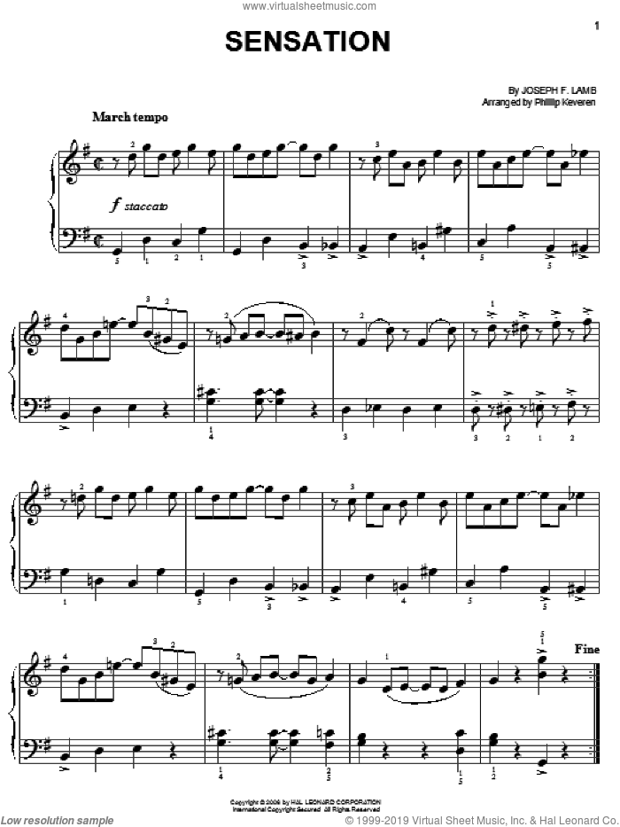 Sensation sheet music for piano solo by Joseph Lamb and Phillip Keveren, easy skill level