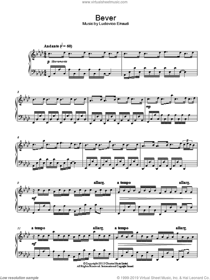 Bever sheet music for piano solo by Ludovico Einaudi