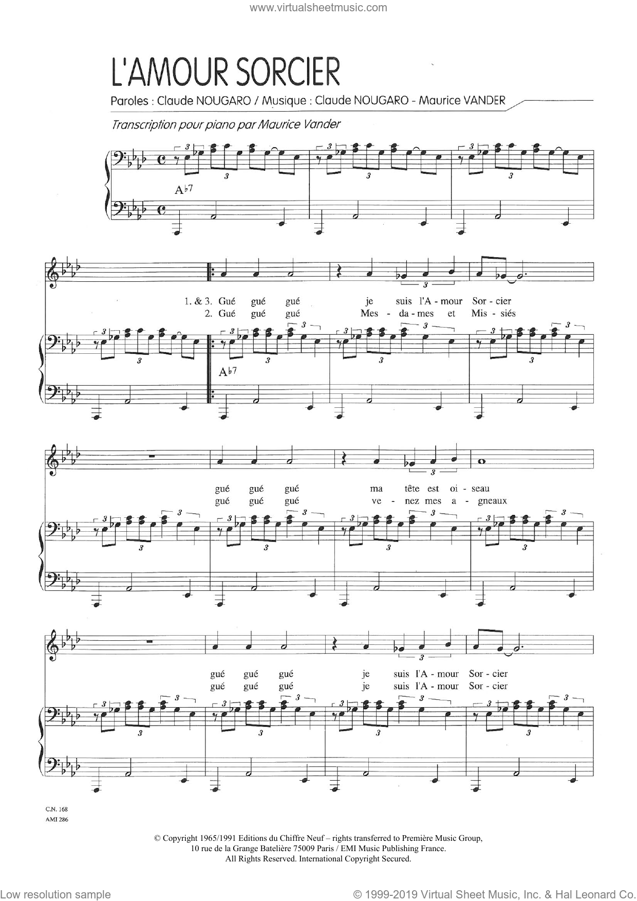 Amour Sorcier sheet music for voice and piano by Claude Nougaro and Maurice Vanderschueren, intermediate skill level