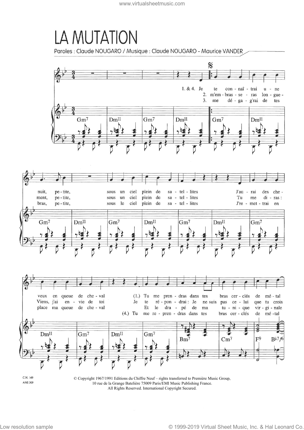 Mutation sheet music for voice and piano by Claude Nougaro and Maurice Vanderschueren, intermediate skill level