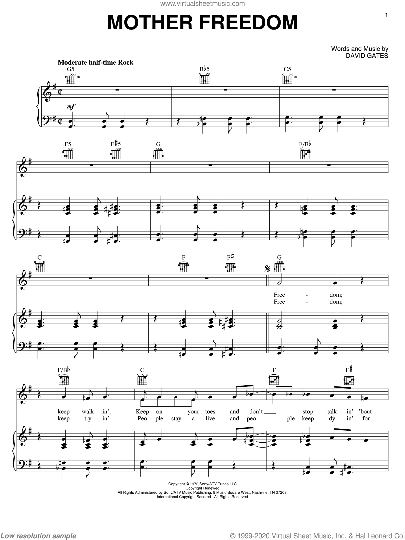 Mother Freedom sheet music for voice, piano or guitar by David Gates and Bread. Score Image Preview.