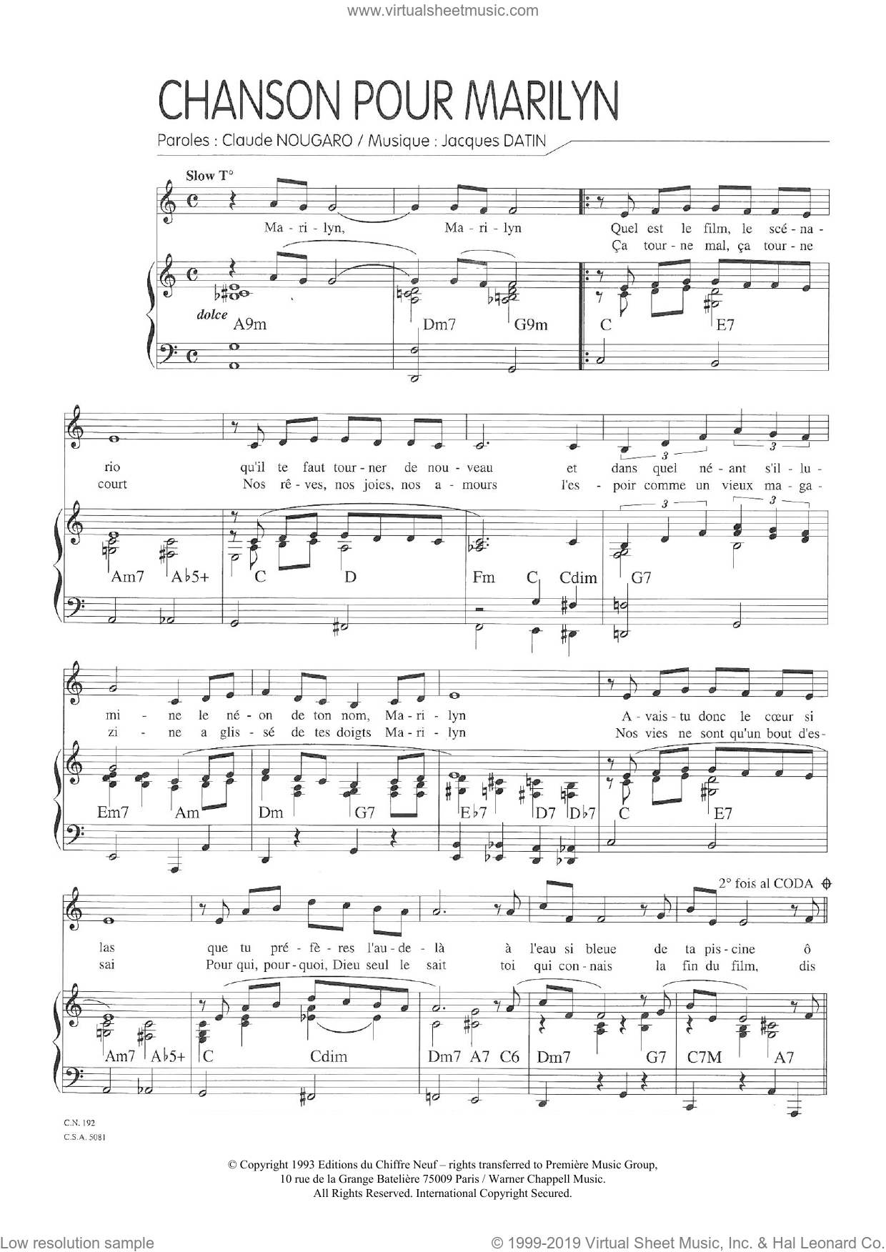 Chanson Pour Marilyn sheet music for voice and piano by Claude Nougaro and Jacques Datin, intermediate skill level