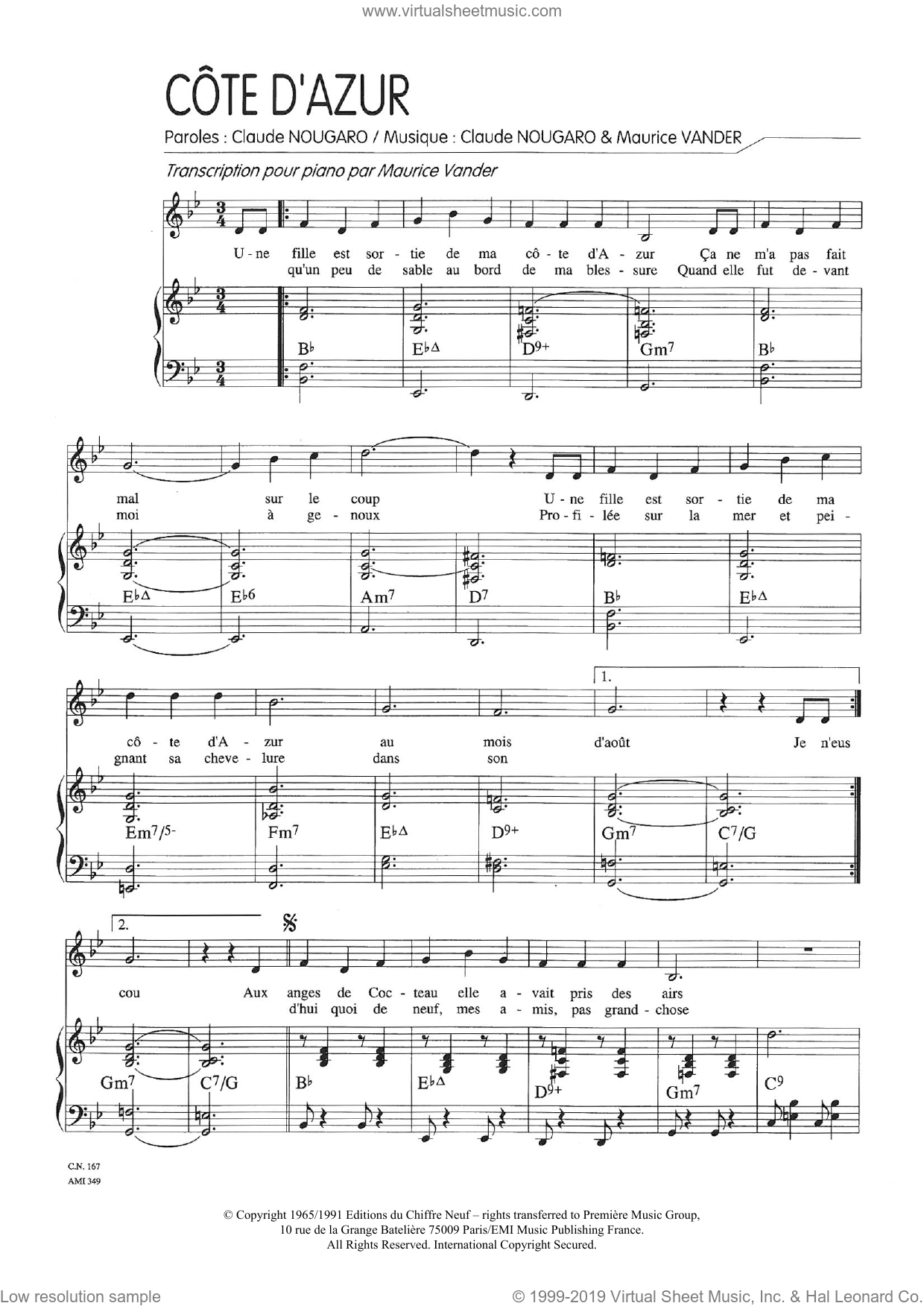 Cote D'azur sheet music for voice and piano by Claude Nougaro and Maurice Vanderschueren, intermediate skill level