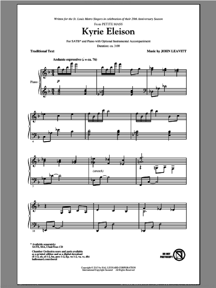 Kyrie Eleison sheet music for choir (SATB: soprano, alto, tenor, bass) by John Leavitt, intermediate skill level
