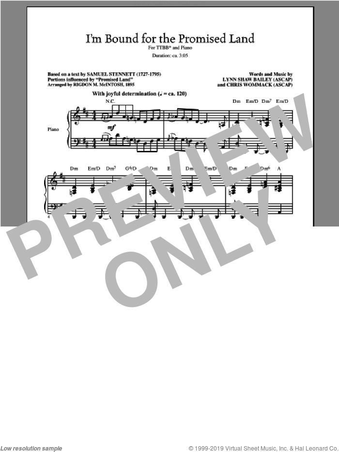 I'm Bound For The Promised Land sheet music for choir and piano (TTBB) by Lynn Shaw Bailey. Score Image Preview.