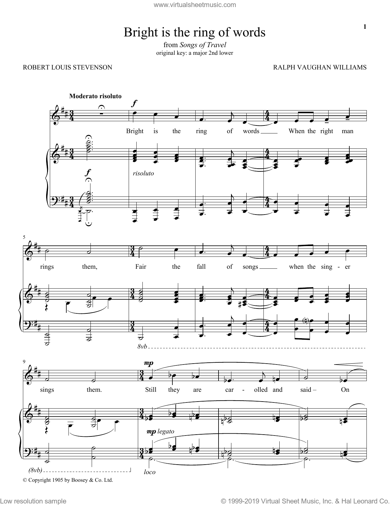 Bright Is The Ring Of Words sheet music for voice and piano by Robert Louis Stevenson and Ralph Vaughan Williams. Score Image Preview.
