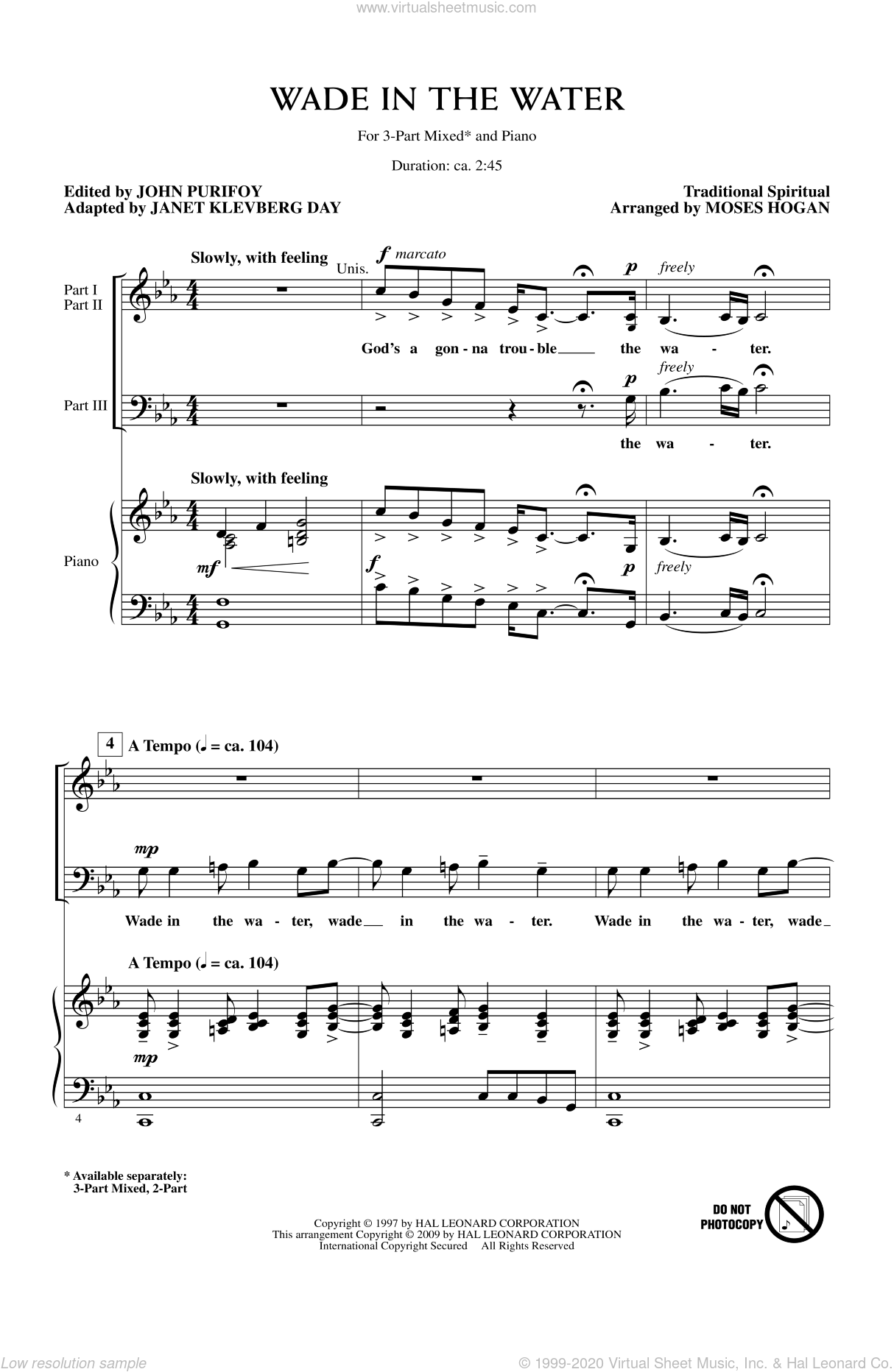 Wade In The Water sheet music for choir and piano (chamber ensemble) by Moses Hogan, Janet Day and John Purifoy. Score Image Preview.