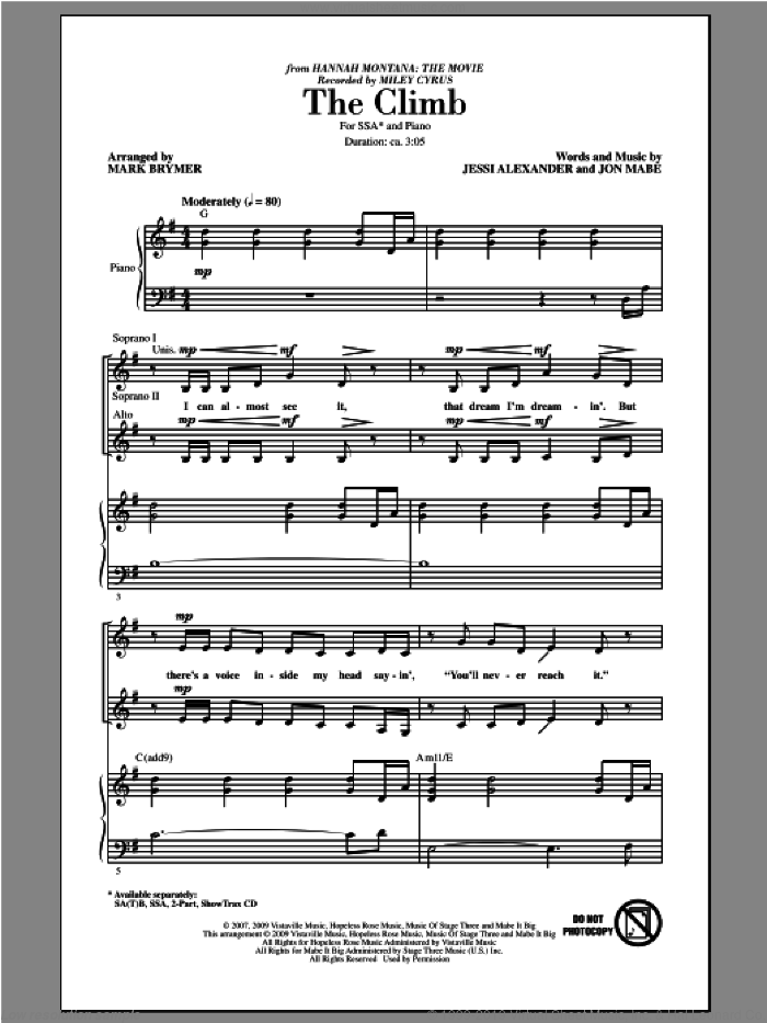 The Climb sheet music for choir (soprano voice, alto voice, choir) by Mark Brymer and Miley Cyrus. Score Image Preview.