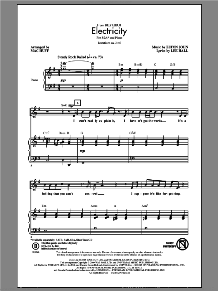 Electricity sheet music for choir (SSA: soprano, alto) by Elton John and Mac Huff, intermediate. Score Image Preview.