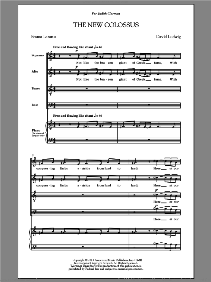 The New Colossus sheet music for choir (SATB: soprano, alto, tenor, bass) by David Ludwig, intermediate. Score Image Preview.
