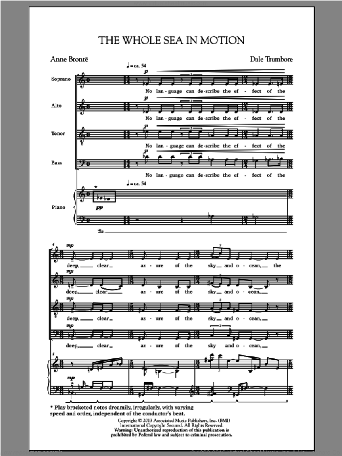 The Whole Sea In Motion sheet music for choir and piano (SATB) by Dale Trumbore. Score Image Preview.
