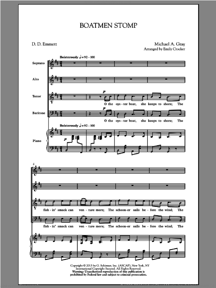 Boatmen Stomp sheet music for choir and piano (SATB) by Emily Crocker