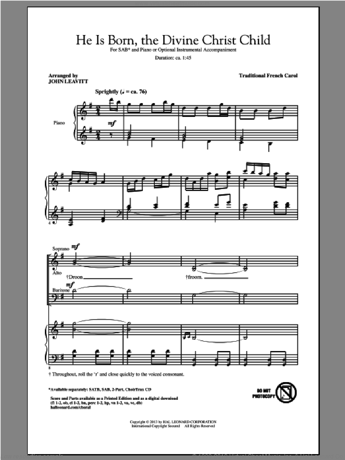He Is Born sheet music for choir and piano (SAB) by John Leavitt. Score Image Preview.