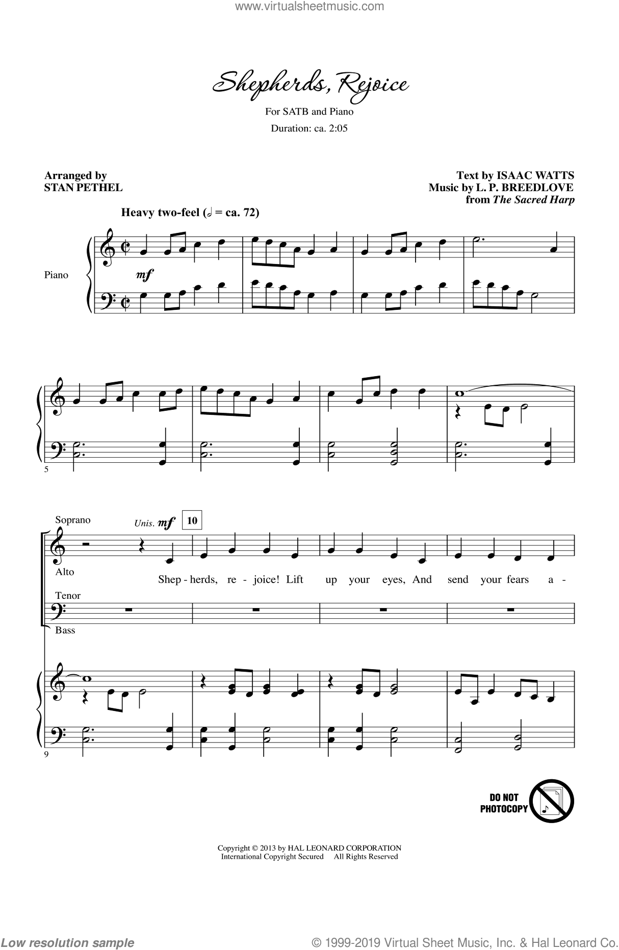 Shepherds, Rejoice sheet music for choir (SATB) by Isaac Watts, Stan Pethel and The Sacred Harp. Score Image Preview.