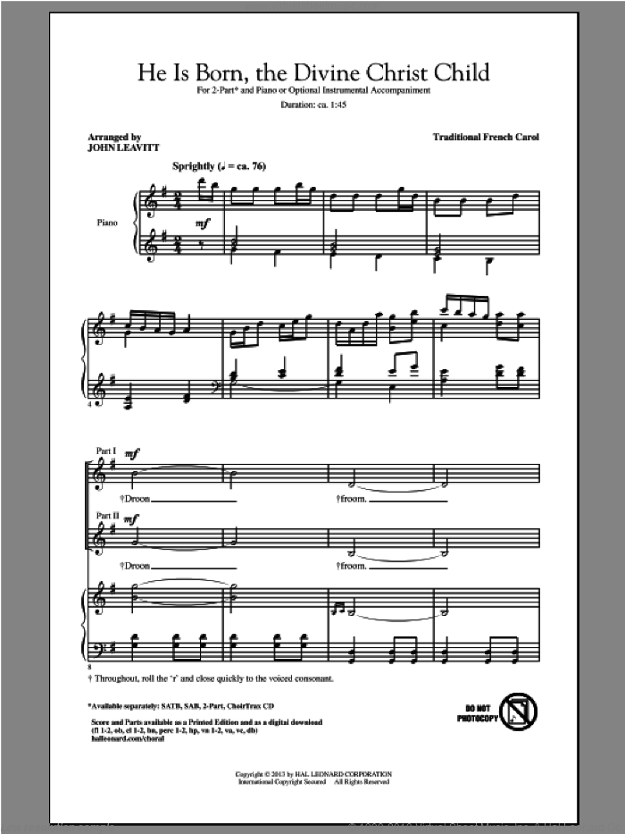 He Is Born sheet music for choir and piano (duets) by John Leavitt. Score Image Preview.