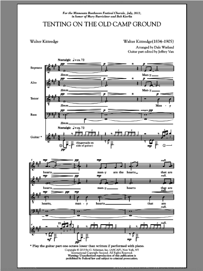 Tenting On The Old Camp Ground sheet music for choir (SATB: soprano, alto, tenor, bass) by Dale Warland, intermediate. Score Image Preview.