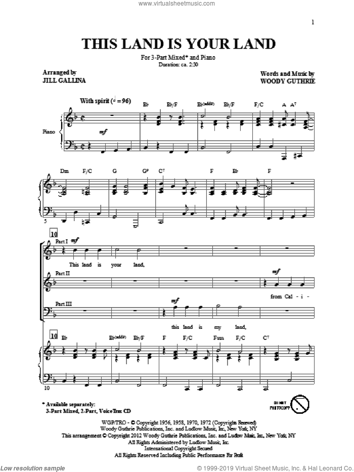 This Land Is Your Land sheet music for choir (chamber ensemble) by Jill Gallina and Woody Guthrie. Score Image Preview.