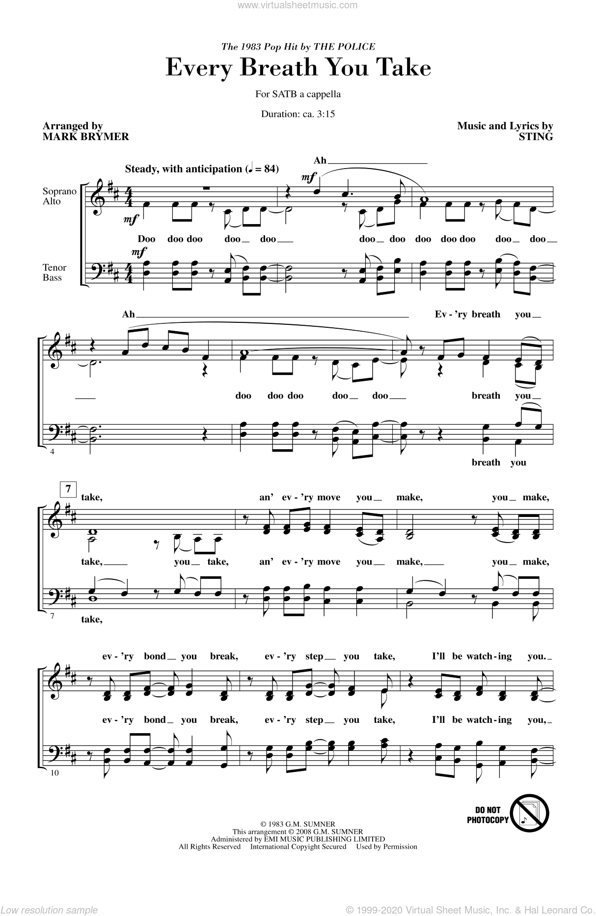 Every Breath You Take sheet music for choir and piano (SATB) by Mark Brymer