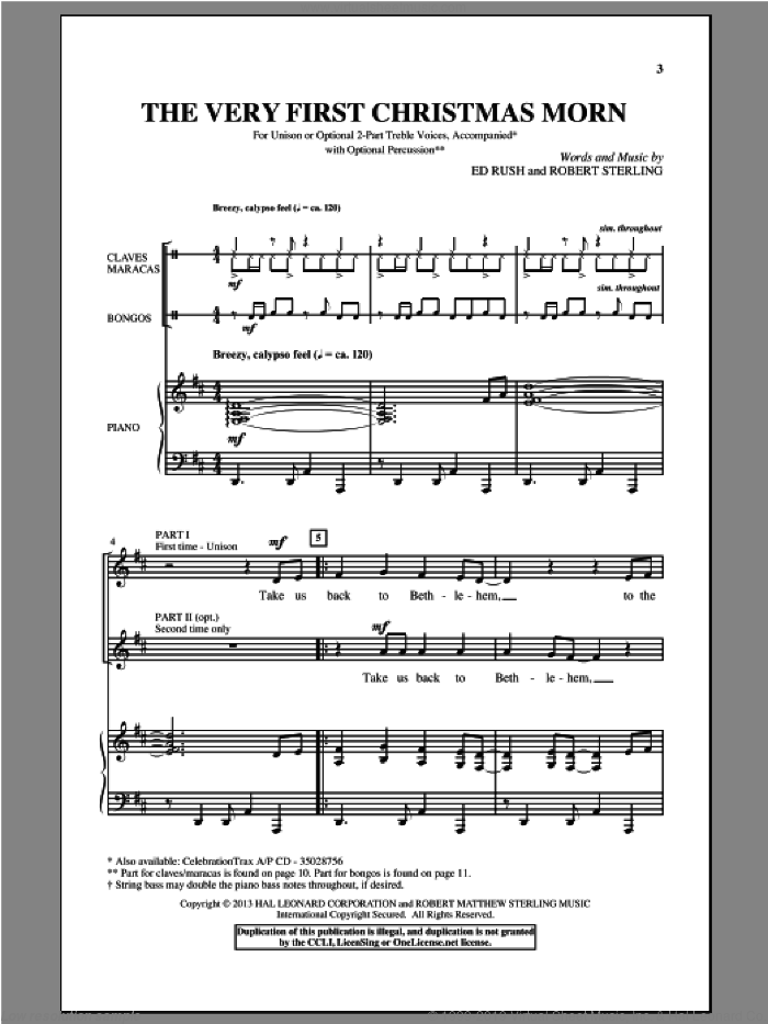 The Very First Christmas Morn sheet music for choir by Robert Sterling. Score Image Preview.