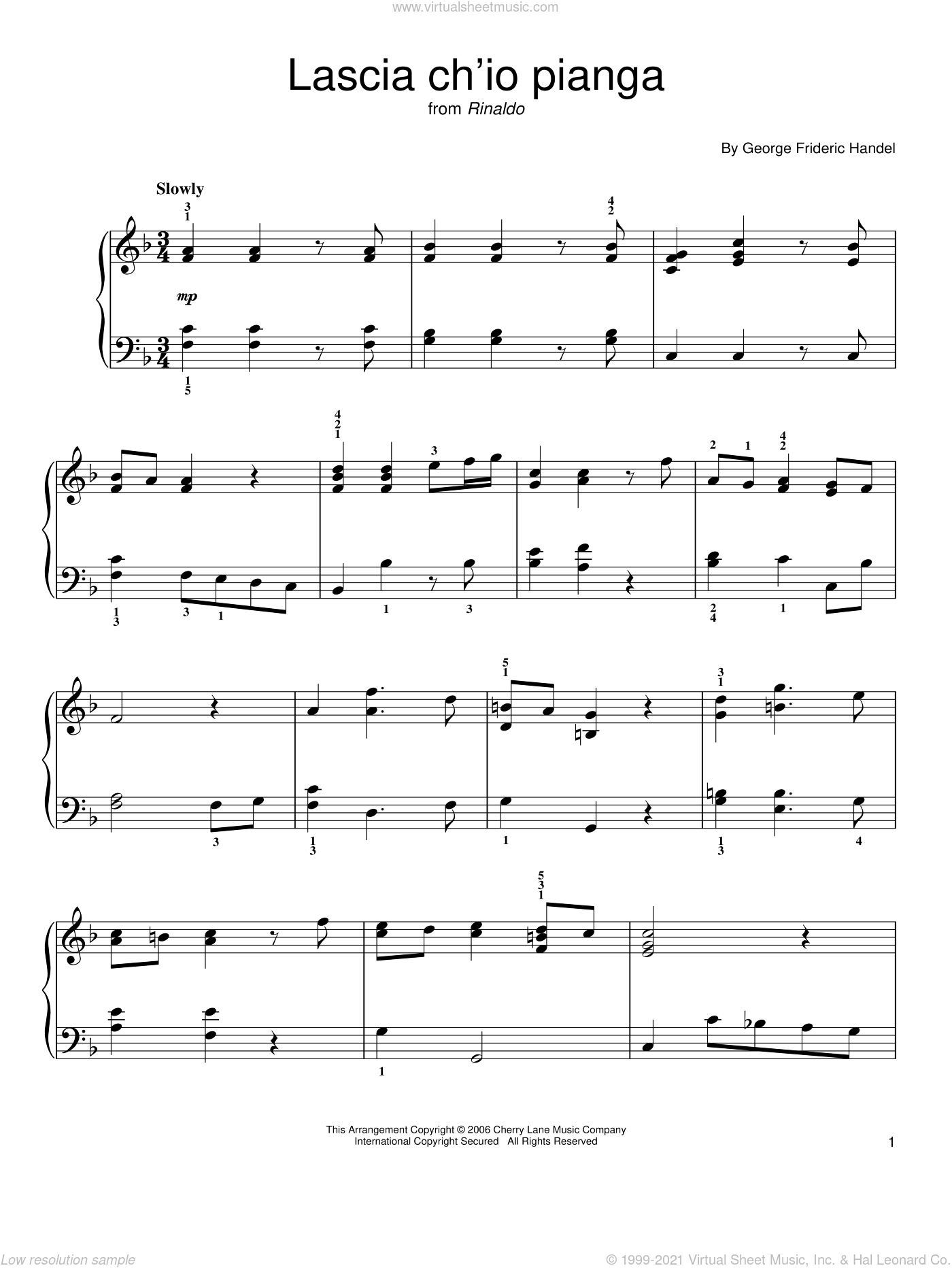 Lascia Ch'io Pianga sheet music for piano solo by George Frideric Handel, classical score, easy skill level