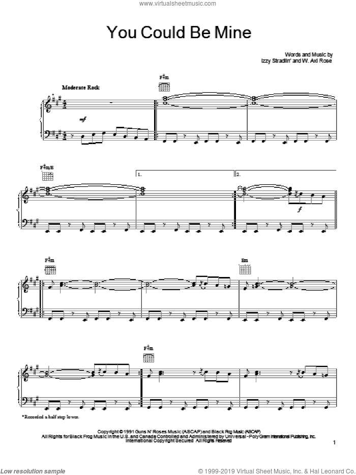 You Could Be Mine sheet music for voice, piano or guitar by Guns N' Roses. Score Image Preview.