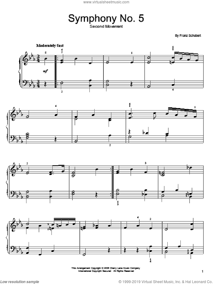 Symphony No. 5 sheet music for piano solo by Franz Schubert, classical score, easy skill level