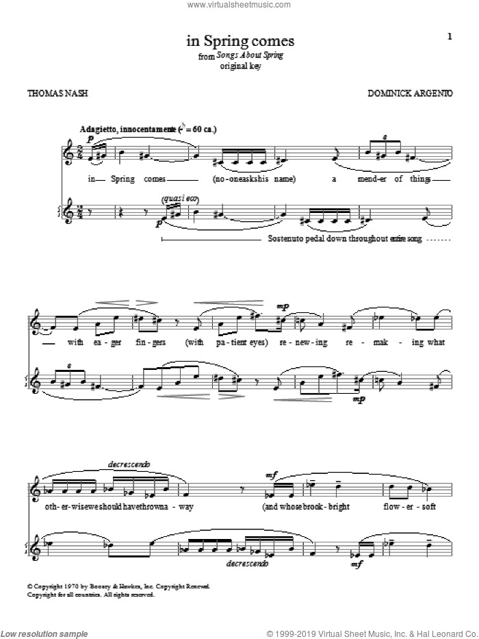 in Spring comes sheet music for voice and piano (High Voice) by Dominick Argento, classical score, intermediate skill level