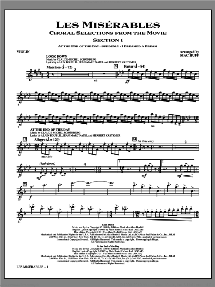 Les Miserables (complete set of parts) sheet music for orchestra/band by Mac Huff, Alain Boublil, Claude-Michel Schonberg and Les Miserables (Movie), intermediate. Score Image Preview.