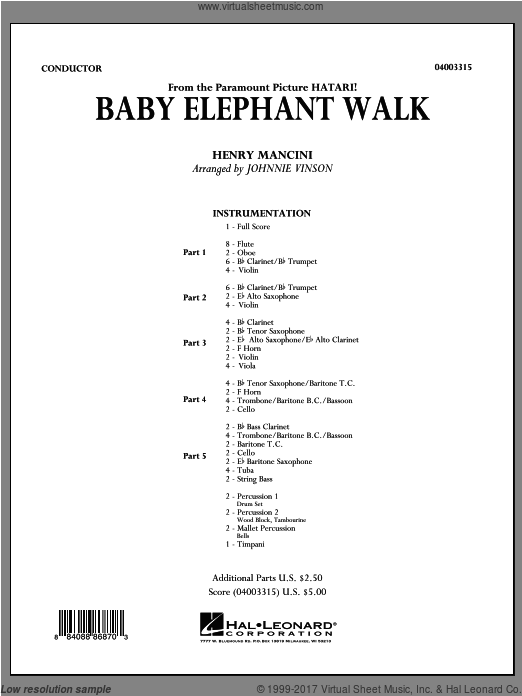 Baby Elephant Walk (COMPLETE) sheet music for concert band by Henry Mancini