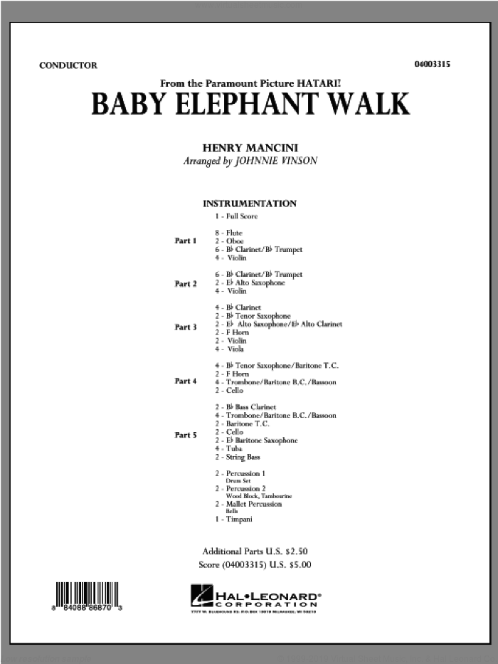 Baby Elephant Walk (COMPLETE) sheet music for concert band by Henry Mancini and Johnnie Vinson, intermediate skill level