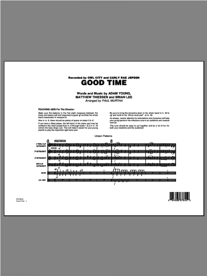 Good Time (COMPLETE) sheet music for jazz band by Paul Murtha and Owl City, intermediate. Score Image Preview.