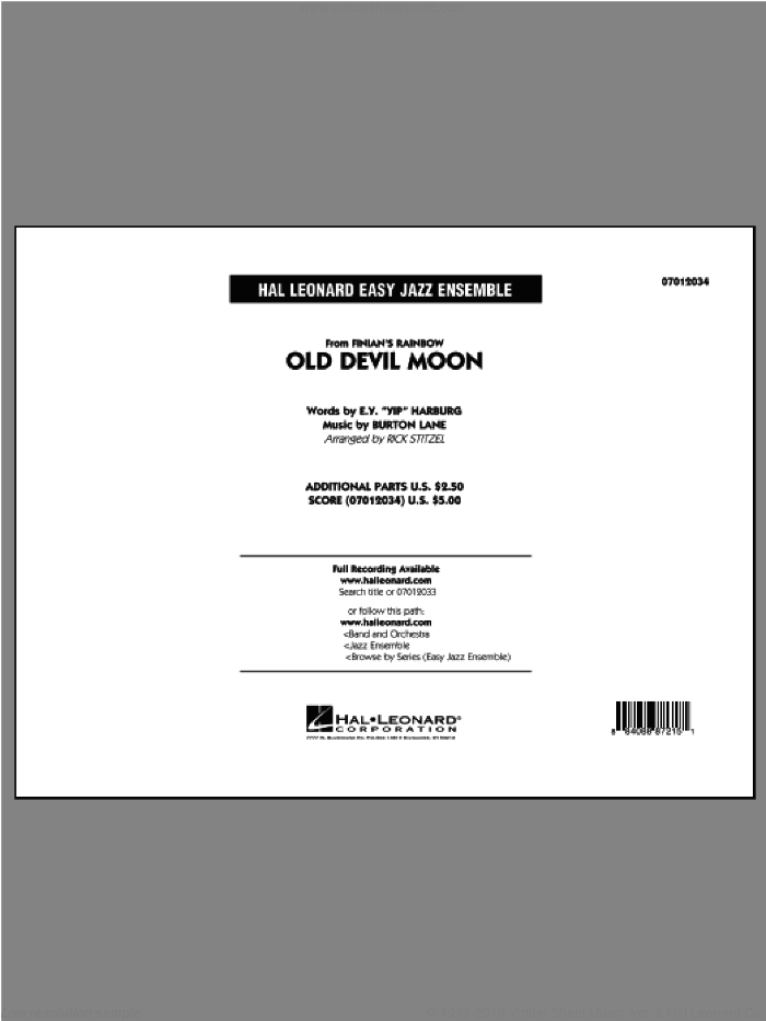 Old Devil Moon (COMPLETE) sheet music for jazz band by Rick Stitzel, intermediate skill level