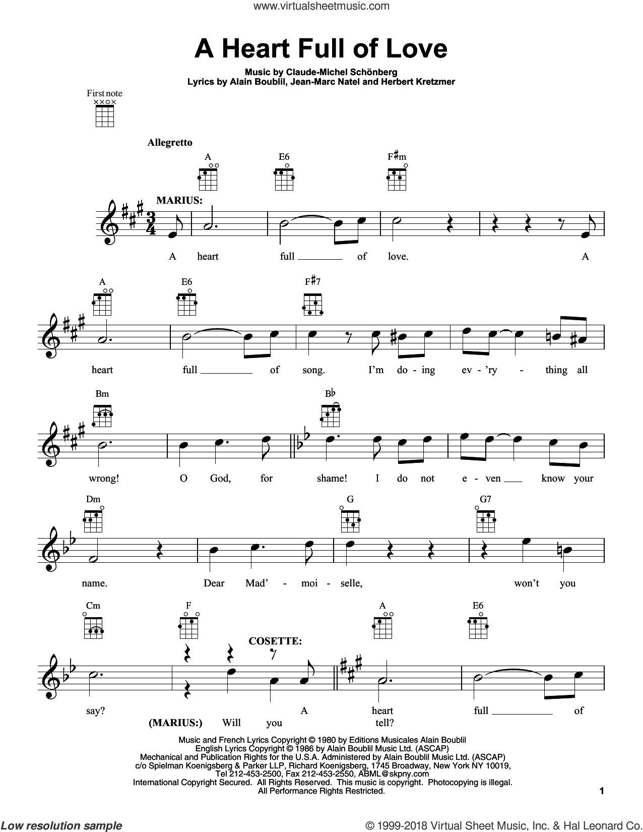 A Heart Full Of Love sheet music for ukulele by Alain Boublil