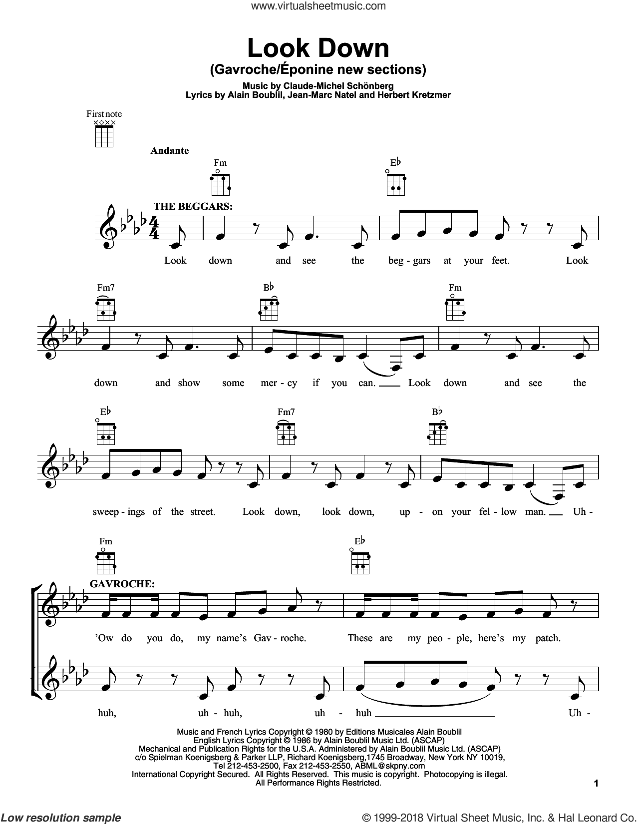 Look Down (Gavroche) sheet music for ukulele by Claude-Michel Schonberg, Alain Boublil and Les Miserables (Movie), intermediate ukulele. Score Image Preview.