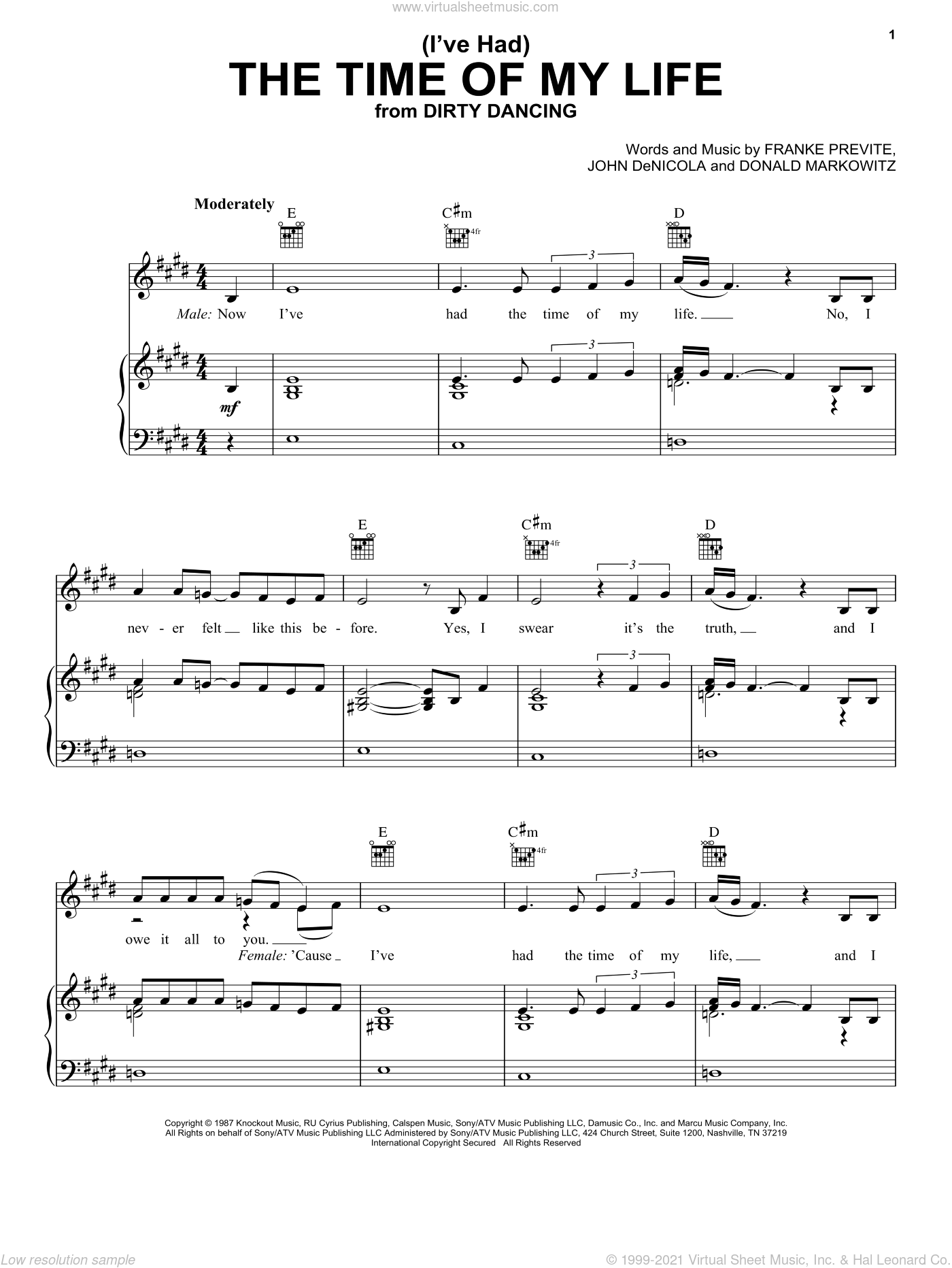 (I've Had) The Time Of My Life sheet music for voice, piano or guitar by John DeNicola, Jennifer Warnes and Donald Markowitz. Score Image Preview.