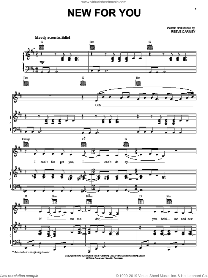 New For You sheet music for voice, piano or guitar by Reeve Carney and Twilight: Breaking Dawn Part 2 (Movie), intermediate skill level