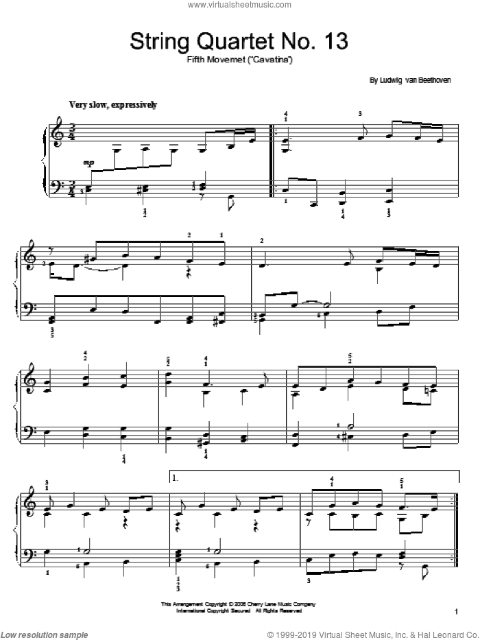 Cavatina sheet music for piano solo by Ludwig van Beethoven, classical score, easy skill level