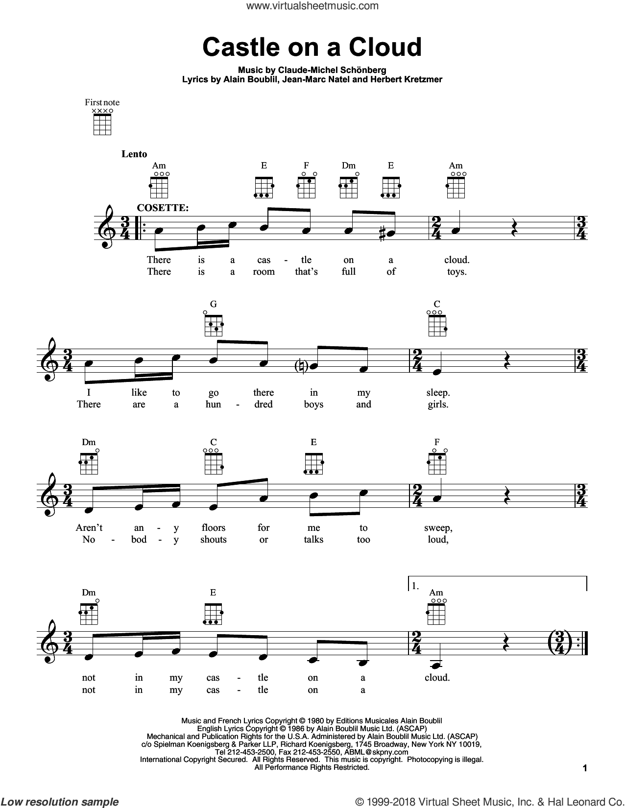 Castle On A Cloud sheet music for ukulele by Les Miserables (Movie)