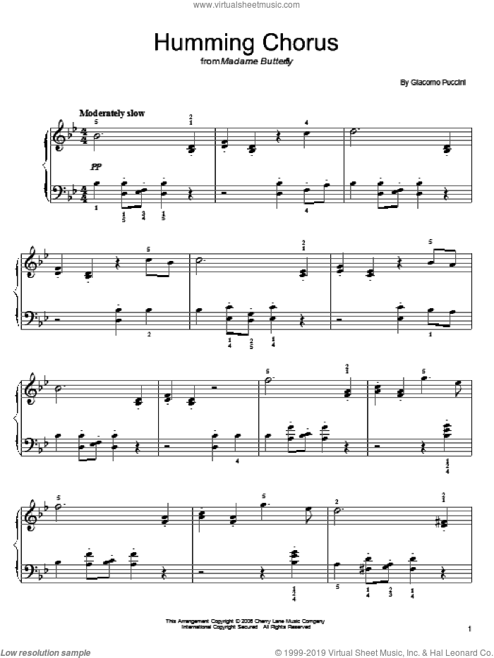 Humming Chorus (Butterfly) sheet music for piano solo by Giacomo Puccini, classical score, easy skill level