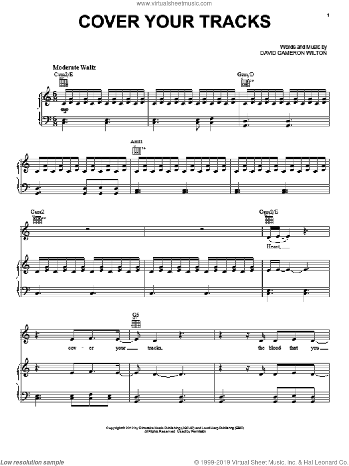 Cover Your Tracks sheet music for voice, piano or guitar by A Boy And His Kite and Twilight: Breaking Dawn Part 2 (Movie), intermediate skill level