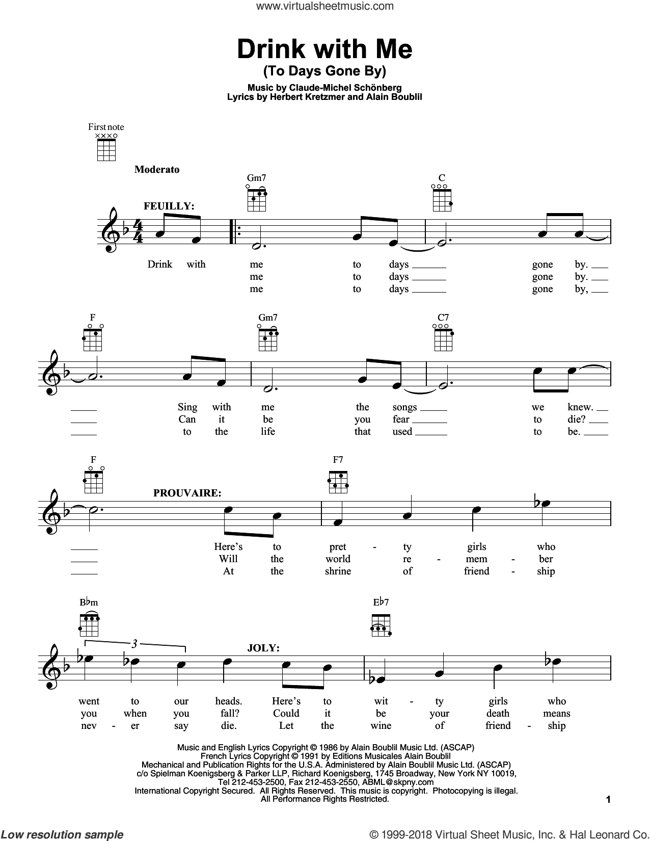 Drink With Me (To Days Gone By) sheet music for ukulele by Claude-Michel Schonberg, Alain Boublil and Les Miserables (Movie), intermediate skill level